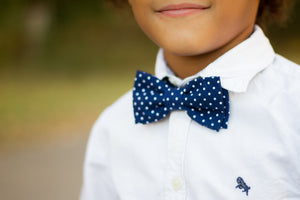 Little Guy Bow Tie - Navy Dot