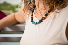 Blue Rainbow Lava Wooden Bead Necklace - IndigoGreenProducts