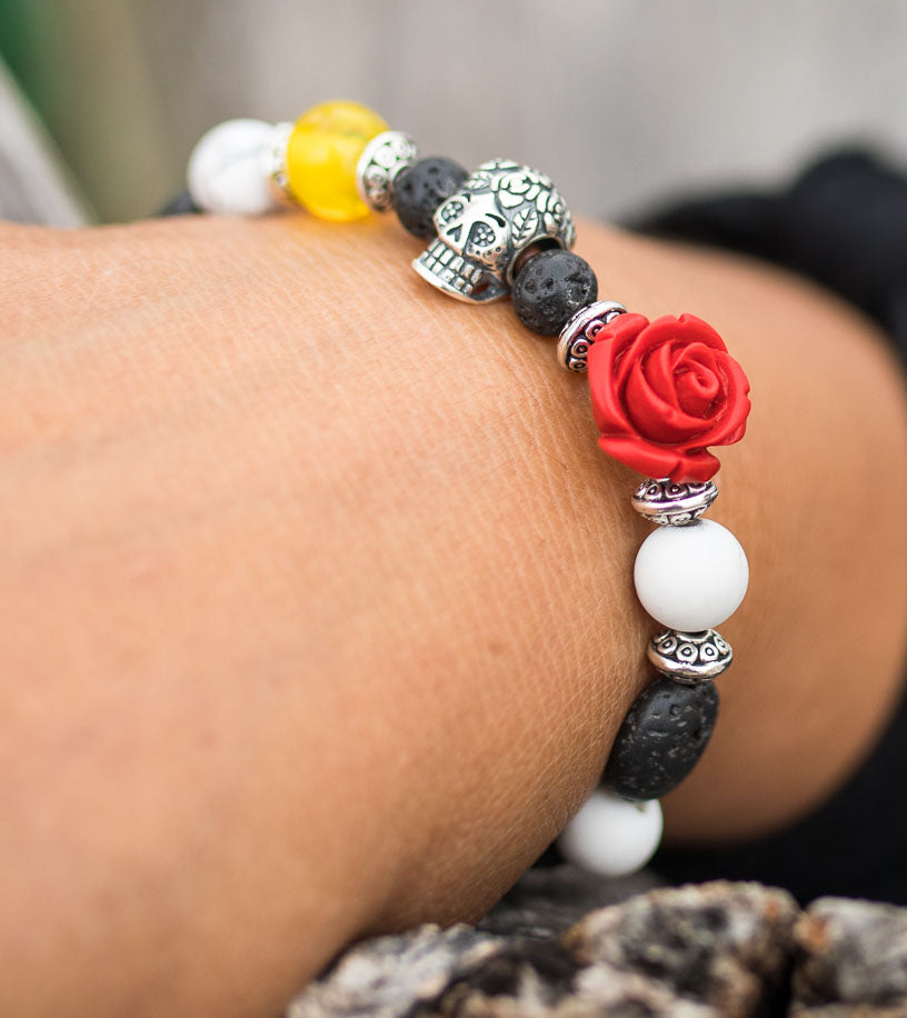 Day of the Dead Dia de Muertos Aromatherapy Bracelet - IndigoGreenProducts