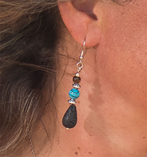 Blue Rainbow Lava Bead Earrings - IndigoGreenProducts