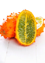 Kiwano, fruit. Horned melon on the table.jpg