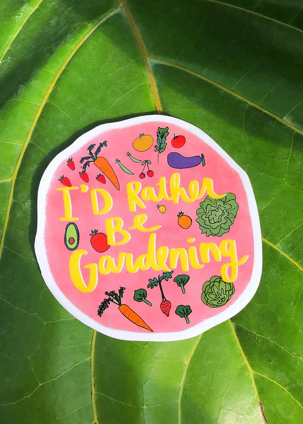 I'd Rather Be Gardening Sticker + Button Set