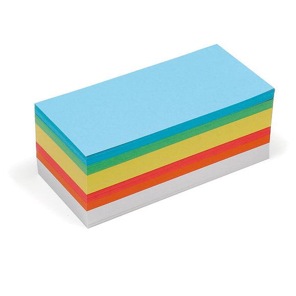 500 Rectangular Pin-It Cards, assorted colours