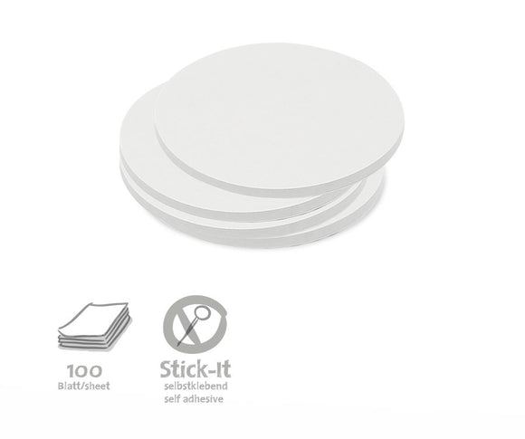 100 Small Circular Stick-It Cards, single colours