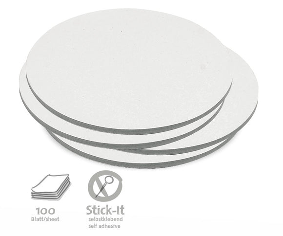 100 Medium Circular Stick-It Cards, single colours
