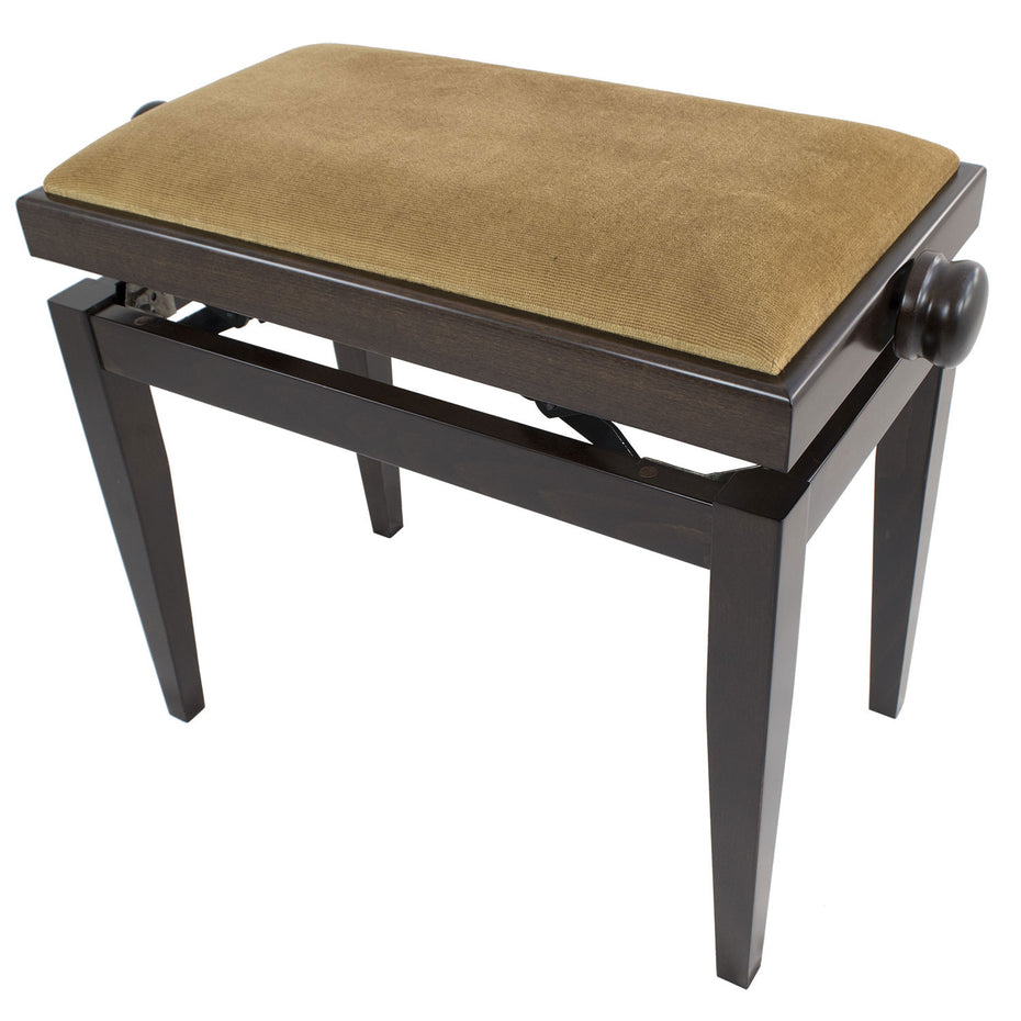 105SM-DWS-BG - Discacciatti 105SM dark walnut satin deluxe adjustable piano stool Beige dralon