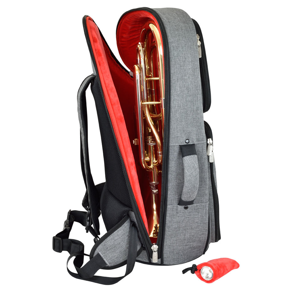 26BH-315 - Tom & Will baritone horn gig bag Grey with red interior