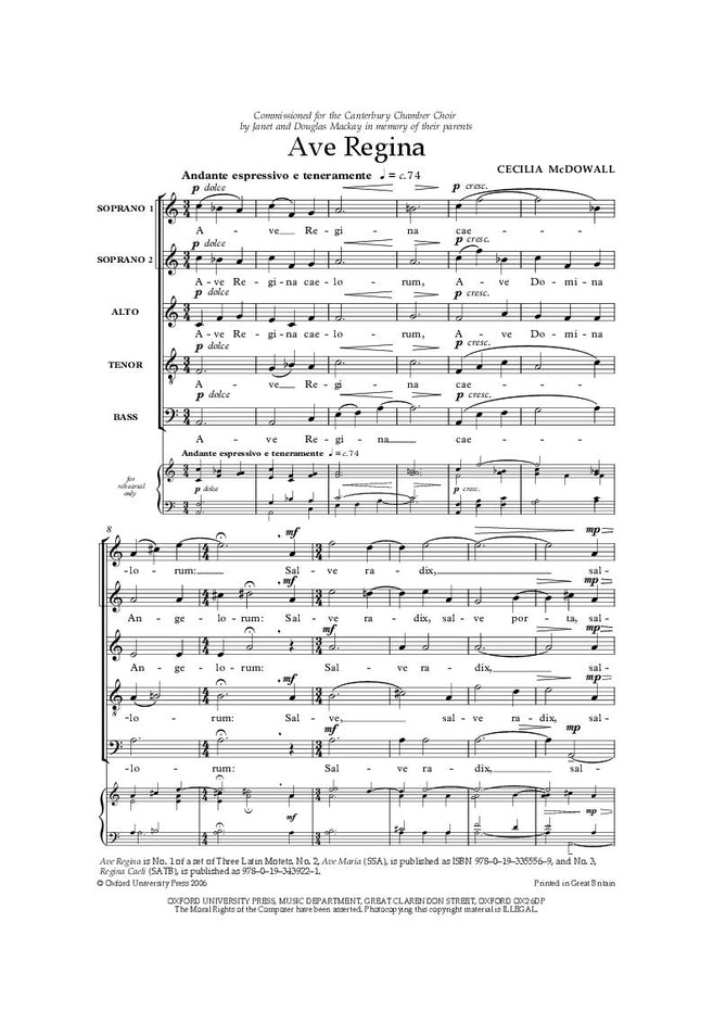 OUP-3355576 - Ave Regina: Vocal score Default title