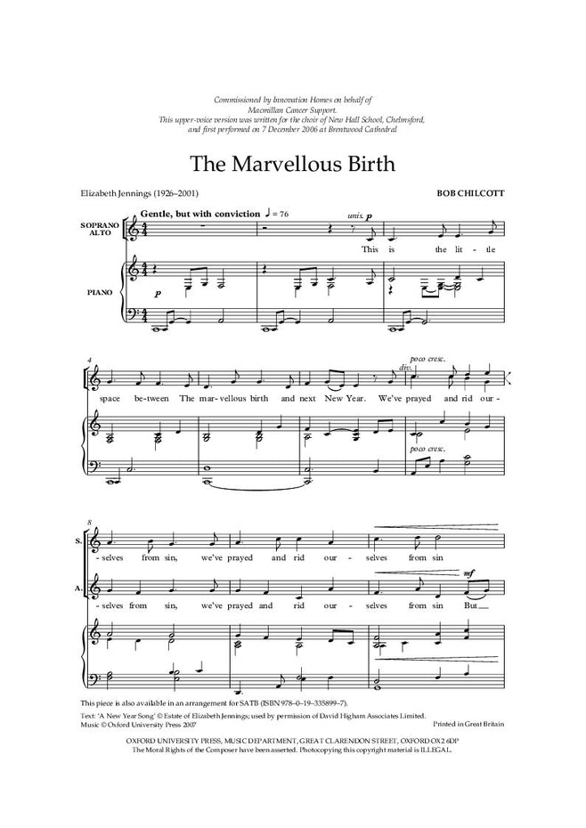 OUP-3358980 - The Marvellous Birth: SA vocal score Default title