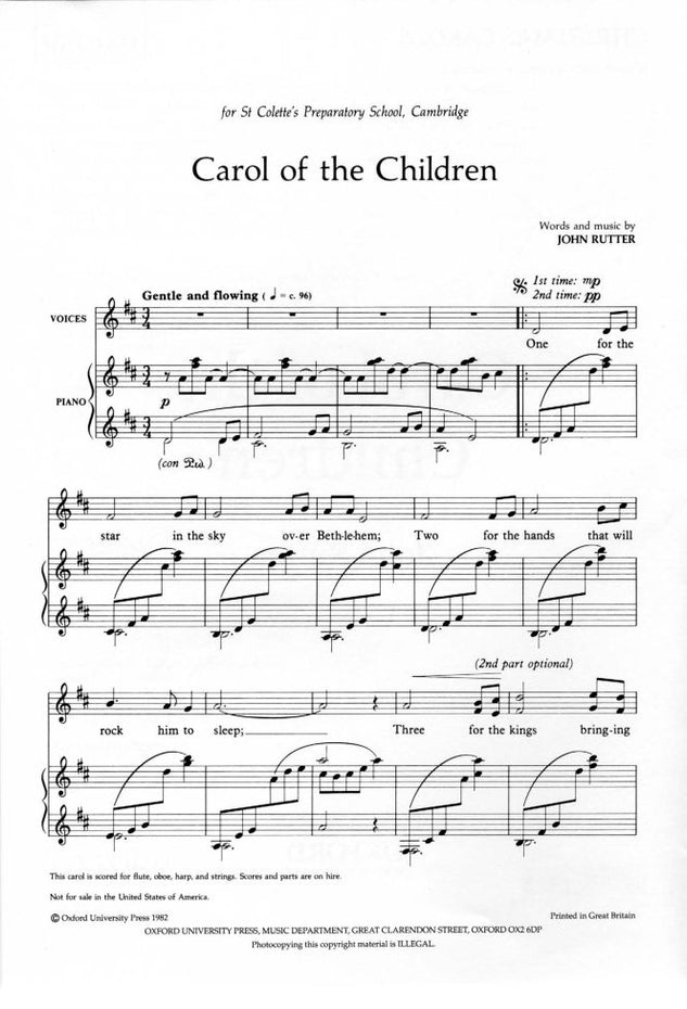 OUP-3420601 - Carol of the Children: Unison vocal score Default title