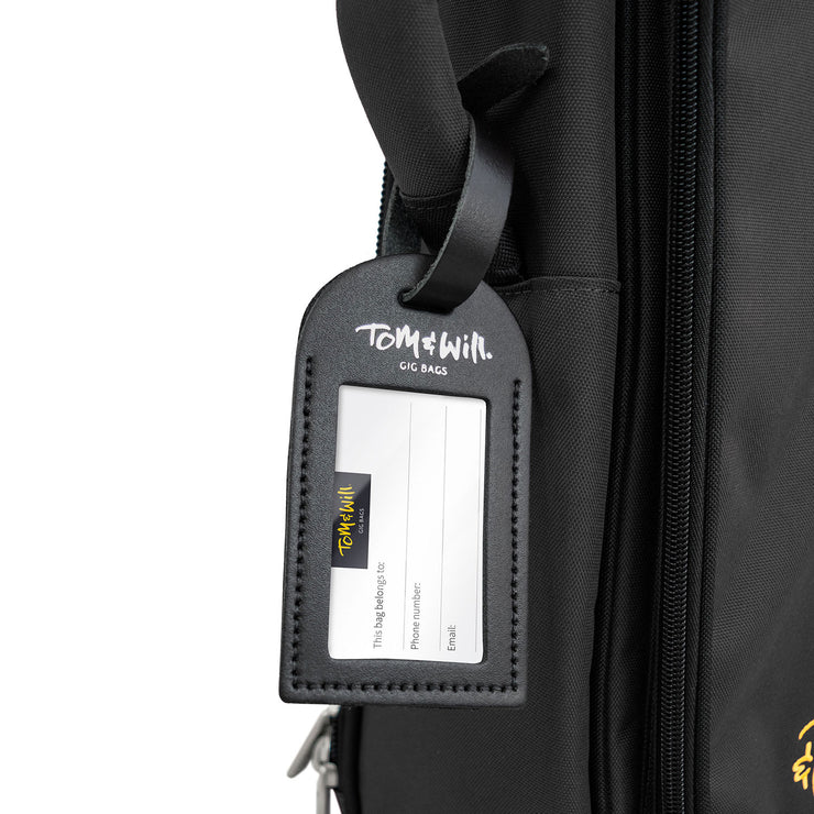99LL-600 - Tom & Will 100% real leather luggage tags Charcoal black