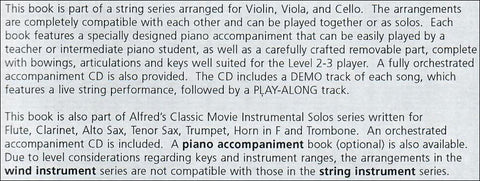 ALF35131 - Classic Movie Instrumental Solos for Cello Default title