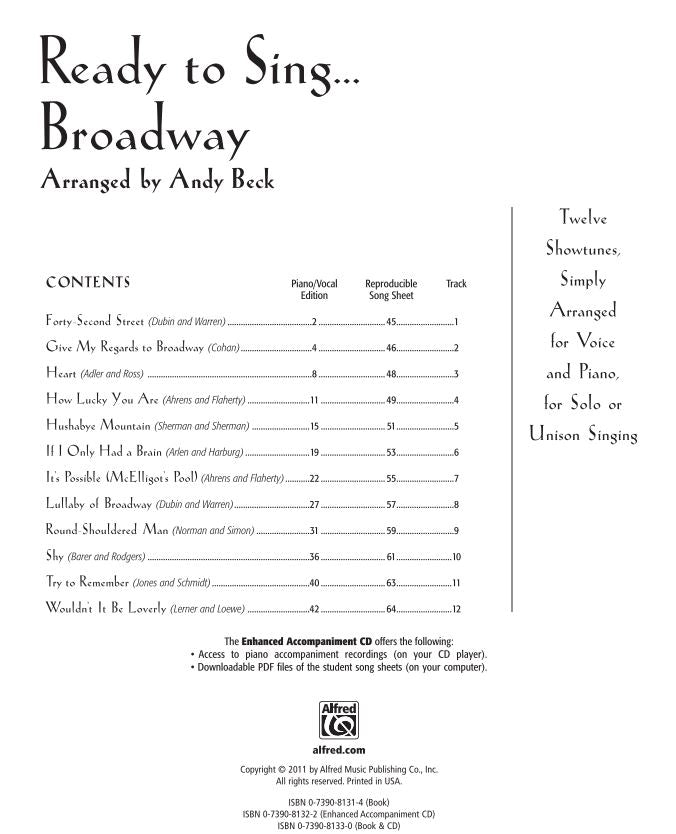 ALF35810 - Ready to Sing Broadway (with CD) Default title
