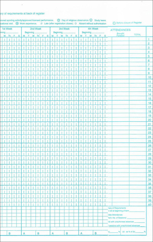 AR40 - Philip & Tacey School Attendance Register 40 Names Pack of 10 Default title