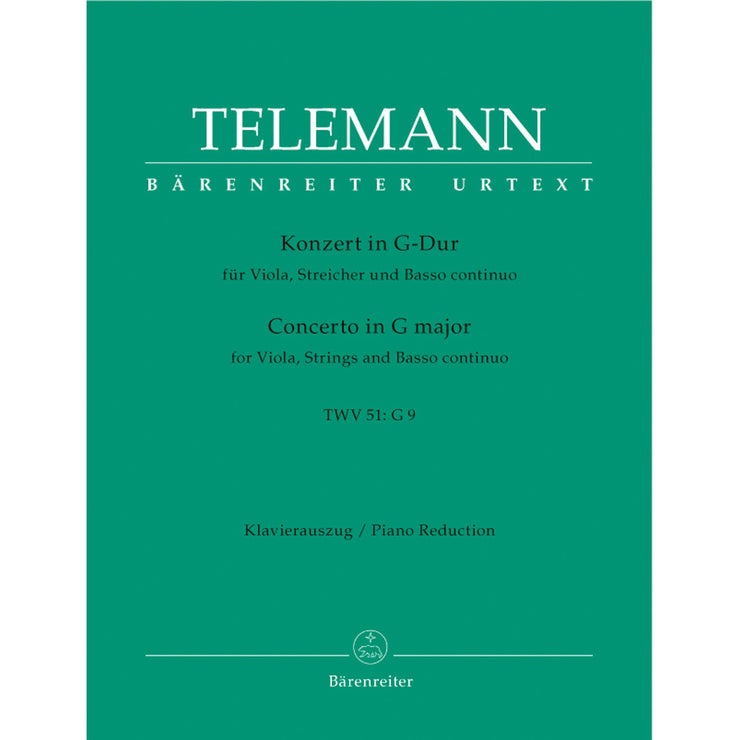 BA5878-90 - Telemann Concerto for Viola in G (TWV 51: G9) Piano reduction Default title