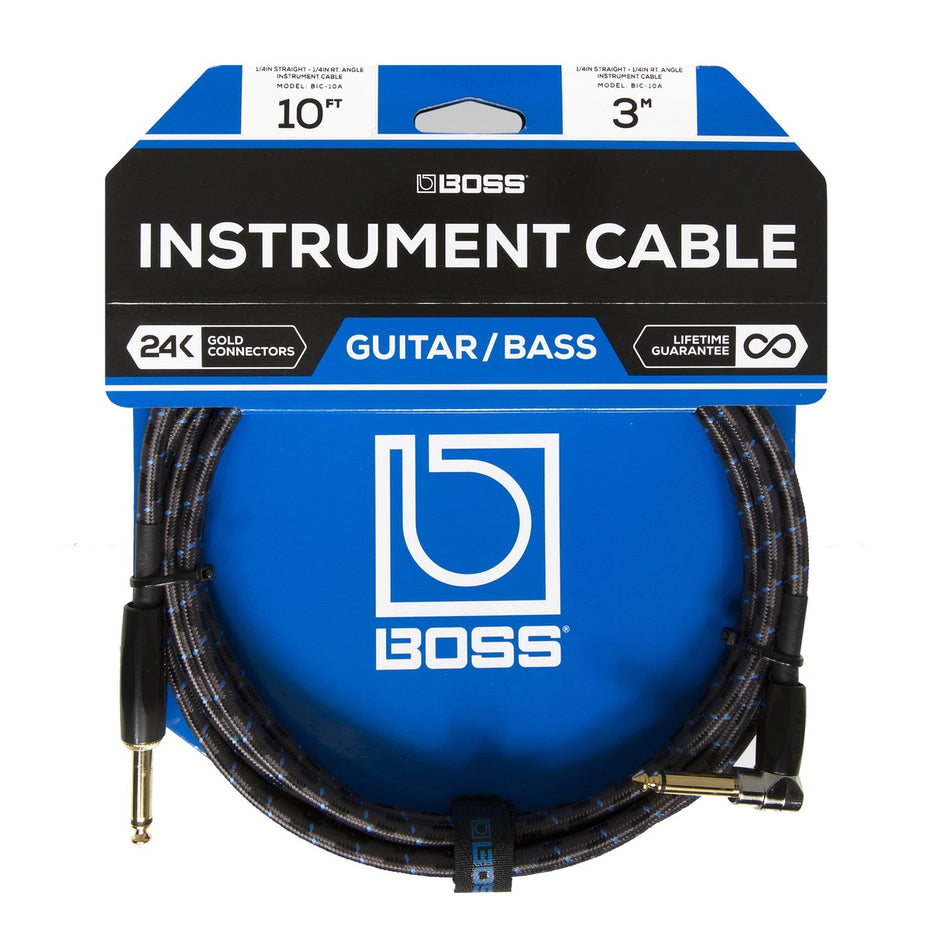 BIC-10A - Boss 10ft instrument guitar cable with angled 1/4