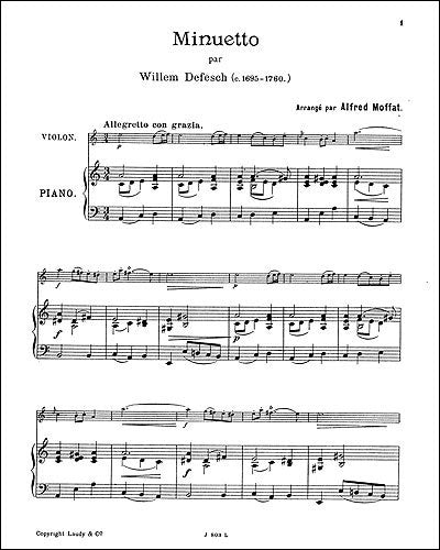 BOE004599 - Willem De Fesch: Minuet For Violin And Piano Default title