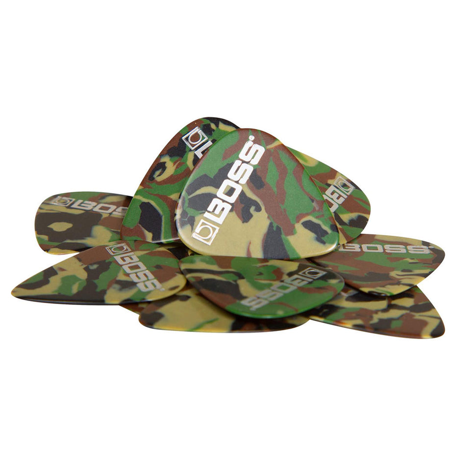 BPK-12-CM - Boss Celluloid camo guitar picks medium gauge pack of 12 Default title