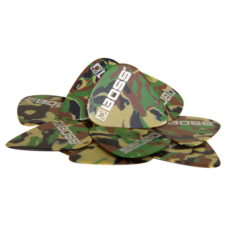 BPK-12-CT - Boss Celluloid Camo guitar picks thin gauge pack of 12 Default title