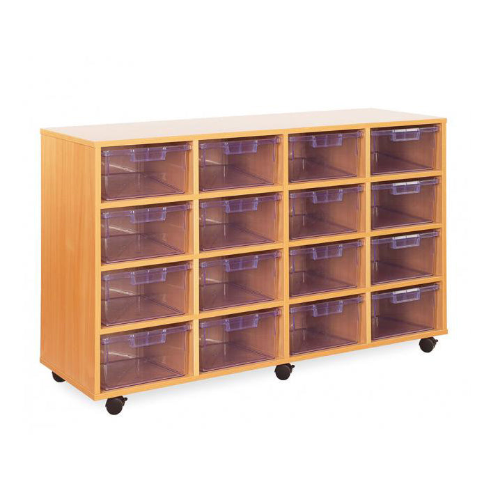CE2119MCL - Crystal Clear Range classroom storage unit with 16 deep trays Default title