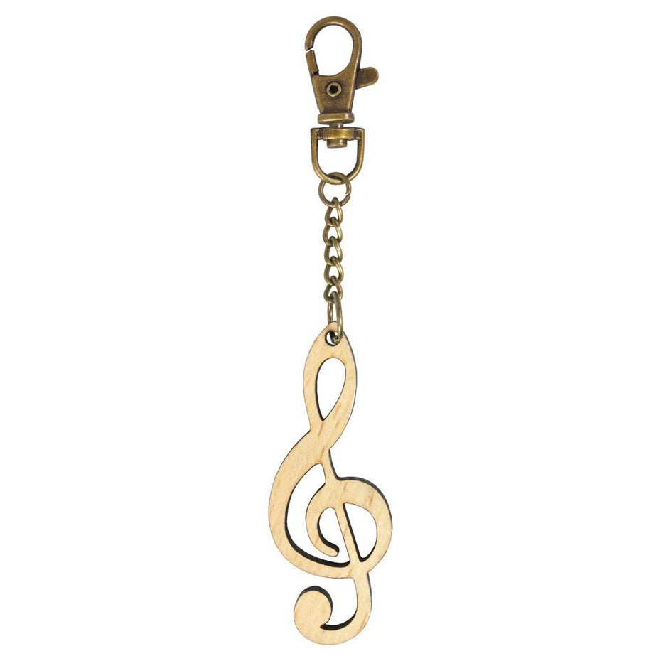 DE-MG12 - Wooden treble clef keyring with bronze keychain and clip Default title