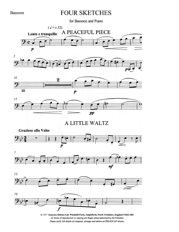 JE-EE73 - Four Sketches for bassoon Default title