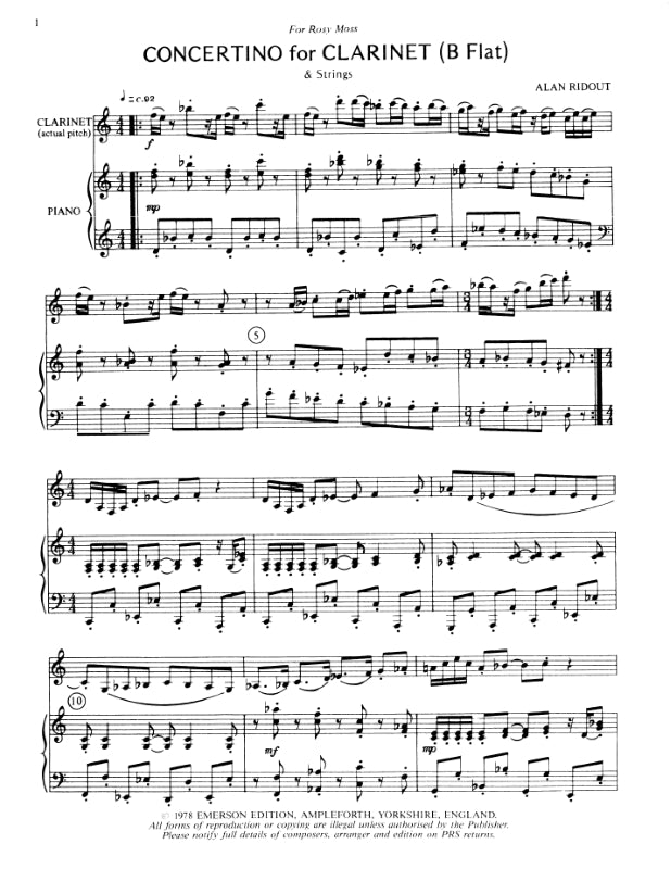 JE-E87 - Ridout Concertino for Clarinet Default title