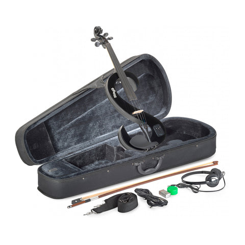 EVN44-BK - Stagg silent S shaped electric violin Black