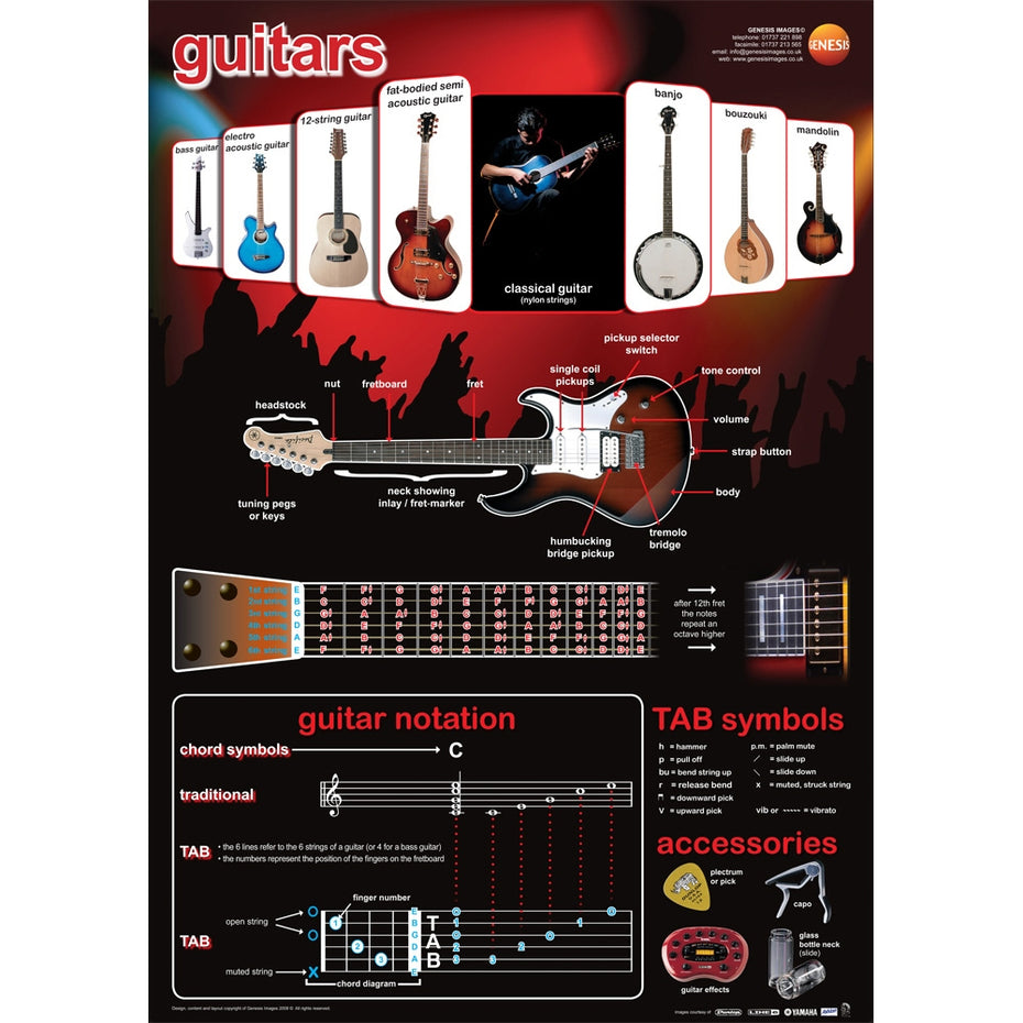 GNS-25 - Guitars A1 wall poster - from basses to banjos Default title