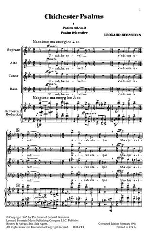 M051321407 - Chichester Psalms - In Three Movements Default title
