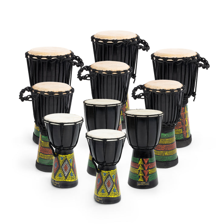 JBD-10PK - Percussion Workshop classroom djembe pack - 10 player African drum set Default title