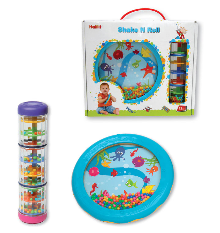 MS485200 - Halilit Early Years twirly whirly rainbomaker and ocean drum gift set Default title