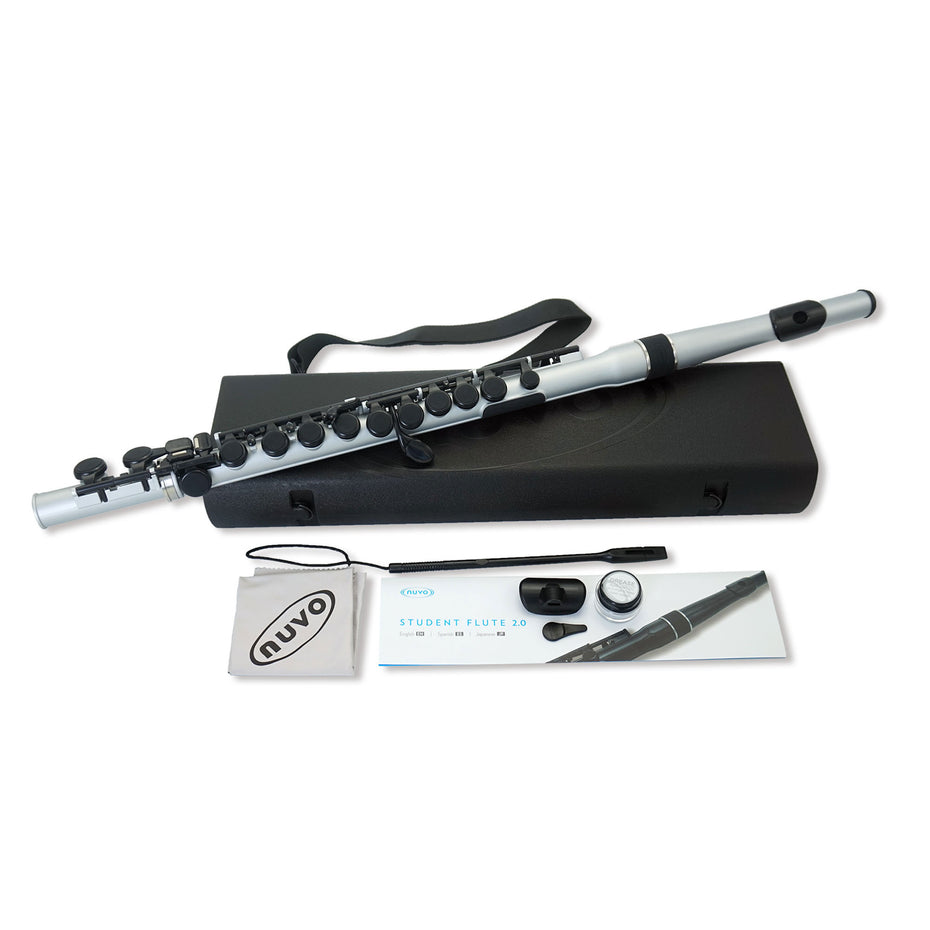 N235SFSB - Nuvo plastic student flute outfit Metallic silver