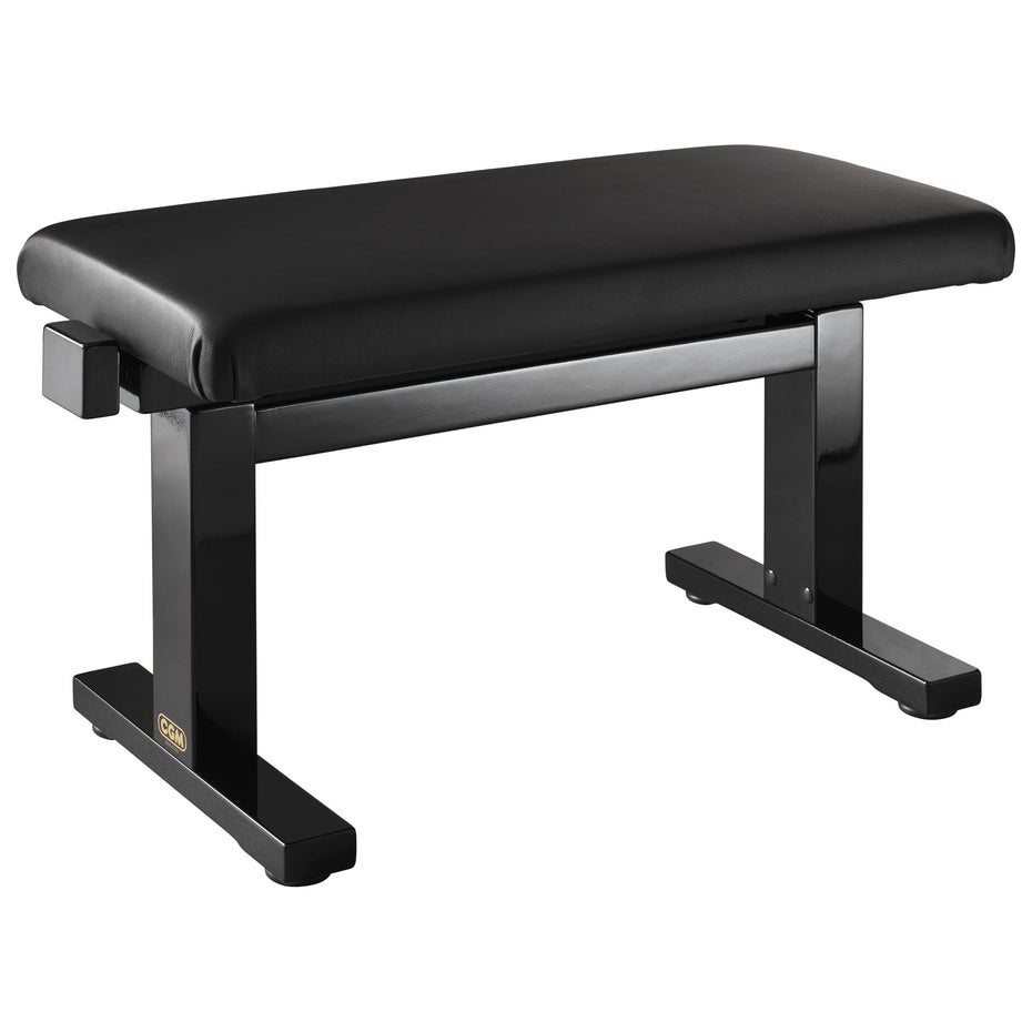 NG12-BS,NG12-BGBL - Hydraulic height adjustable piano stool Satin black, with black simulated leather top