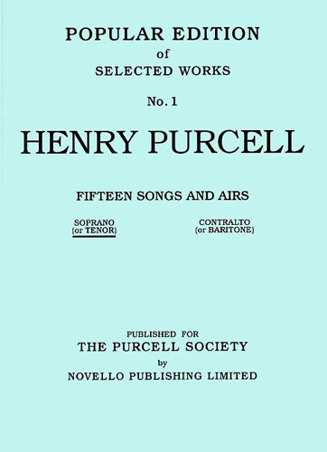 NOV170263 - Henry Purcell: Fifteen Songs And Airs Set 1 (Soprano Or Tenor) Default title