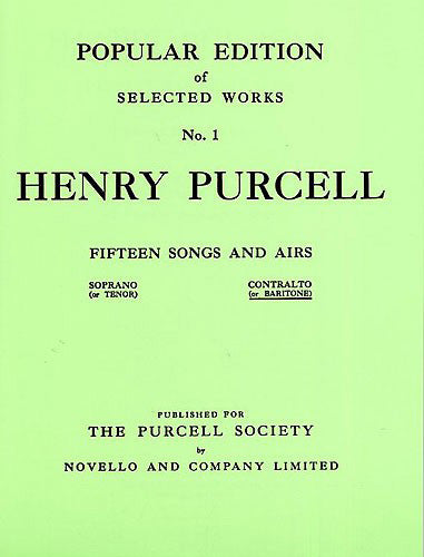 NOV170264 - Henry Purcell: Fifteen Songs And Airs Set 1 (Contralto Or Baritone) Default title