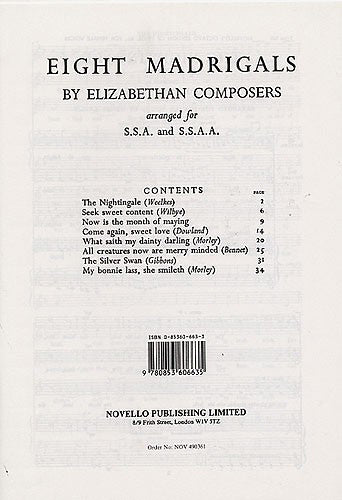 NOV490361 - Eight Madrigals By Elizabethan Composers Default title