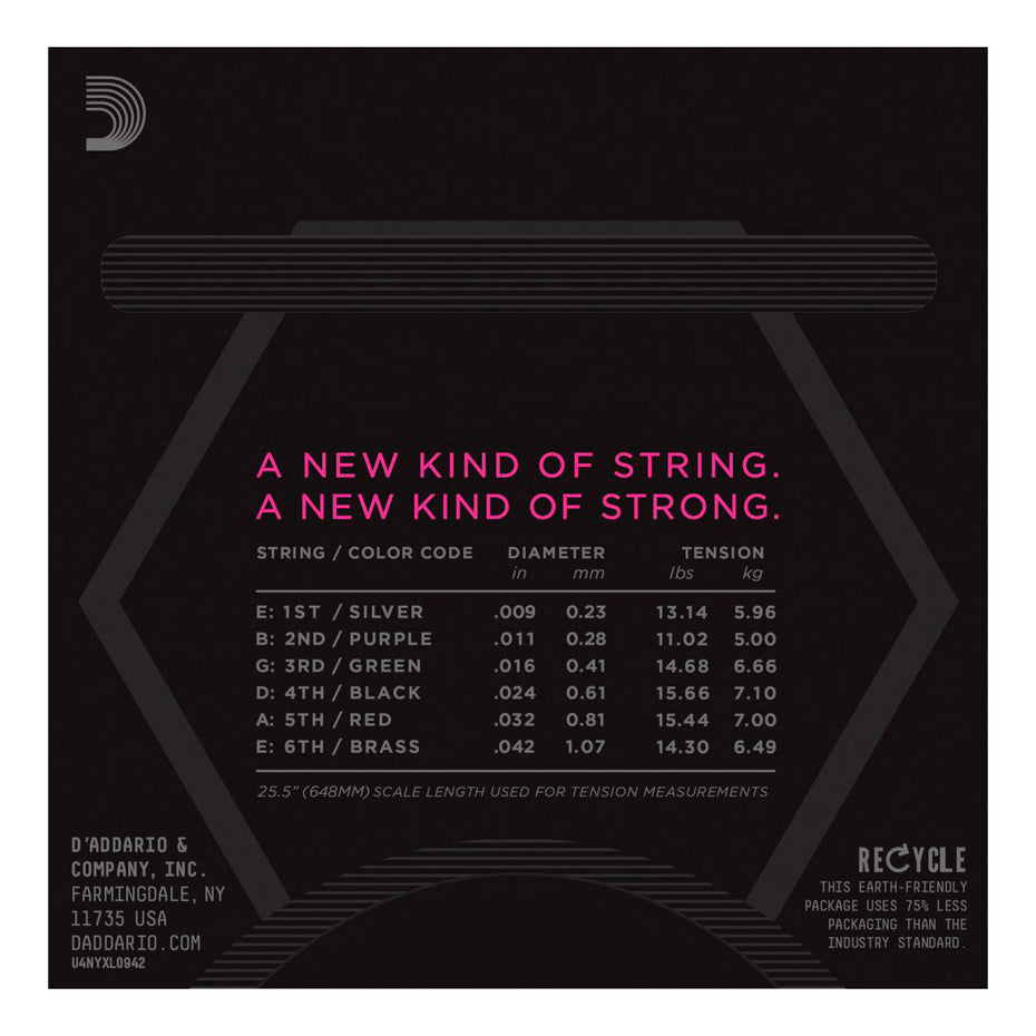 NYXL0942 - D'addario NYXL super light nickel wound electric guitar strings 09-42 Default title