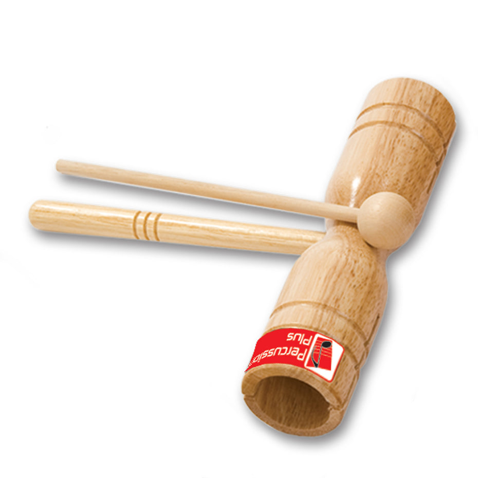 PP253 - Percussion Plus double wooden agogo with beater Default title