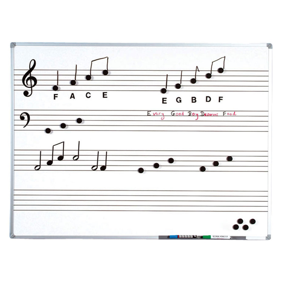 SC1001 - Magnetic whiteboard with pre printed music stave 120 x 90cm