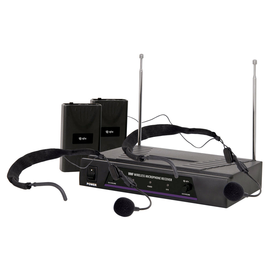 SK171819 - QTX dual wireless VHF radio microphone system - headset and handheld Default title