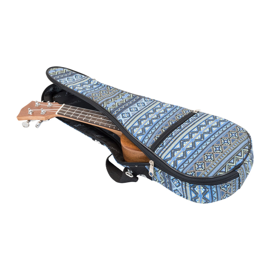 UK51S-512 - Octopus soprano ukulele patterned bag Aztec blue