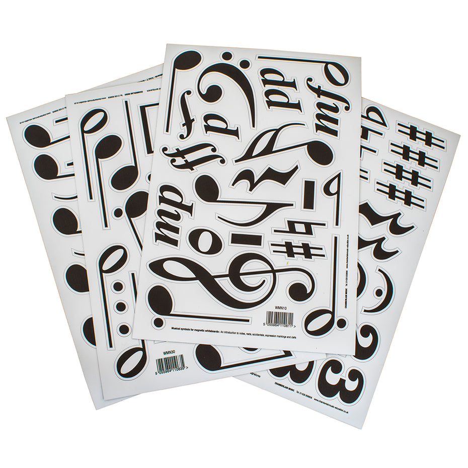 Set of 4 sheets of magnetic music symbols