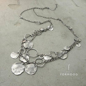 Raw Sterling Silver Coin Long Necklace, NECKLACES, FORMOOD, [Silver Chamber Jewellery Online Store]