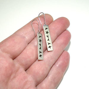 Black Star Silver And Enamel Bar Dangle Earrings, EARRINGS, NORMANI, [Silver Chamber Jewellery Online Store]