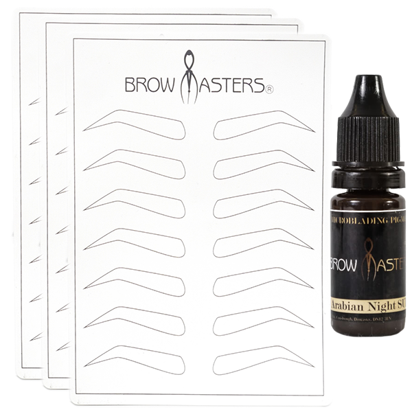 3 Brow Design Practice Mats +  Browmasters Pigment for Practice