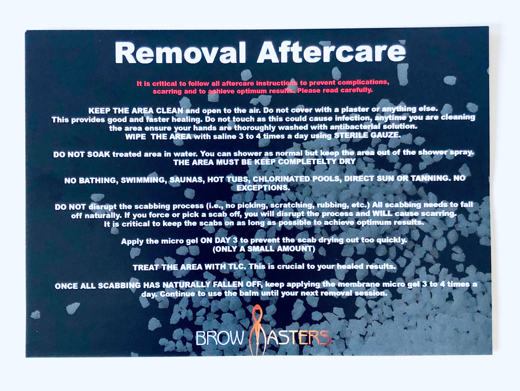 Saline Removal Aftercare Cards (50 pack)