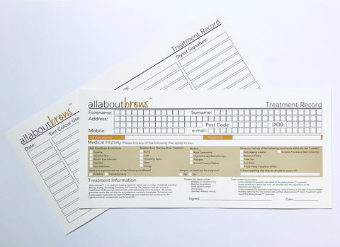 allaboutbrows Customer Record cards (100 pack)