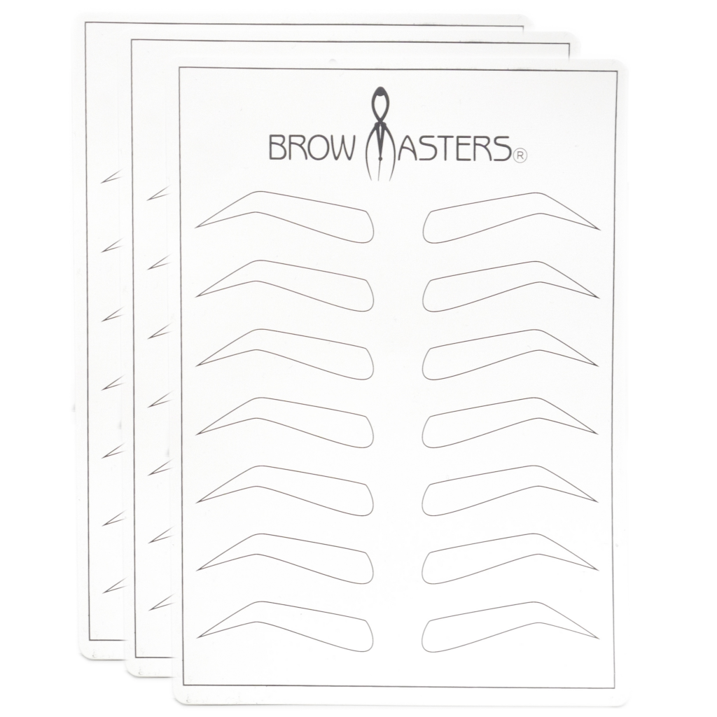 image relating to Eyebrow Template Printable called Train Mats Pores and skin with Forehead Template (Pack of 3) - PMU Products via Browmasters