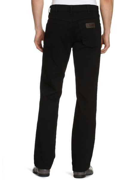 Mens Wrangler Texas Stretch Regular Fit Zip Fly Black Jeans